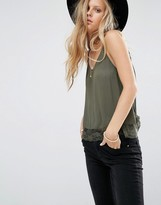 Pull&Bear Cami Top In Cheesecloth With Lace Hem In Khaki