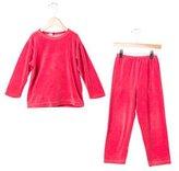 Petit Bateau Girls' Velvet Pajama Set