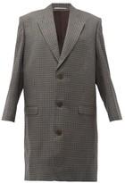 Martine Rose Oversized Checked Wool Overcoat - Womens - Grey