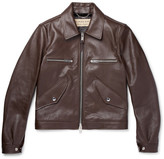 Burberry Leather Bomber Jacket - Brown