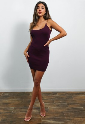 Missguided Tall Burgundy Transparent Strap Knitted Mini Dress