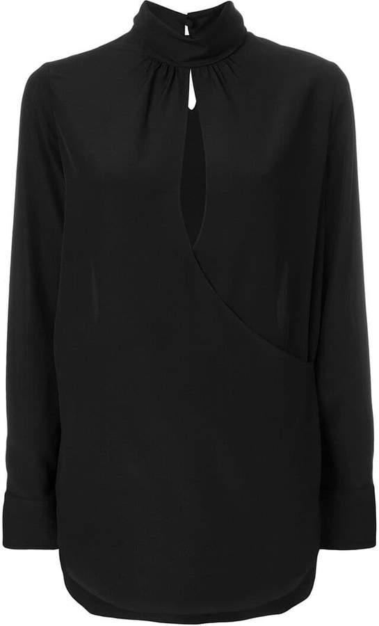 Chloé mock-neck keyhole blouse