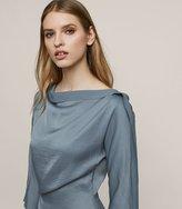 Reiss Nina - Draped Long-sleeved Top in Brown, Womens