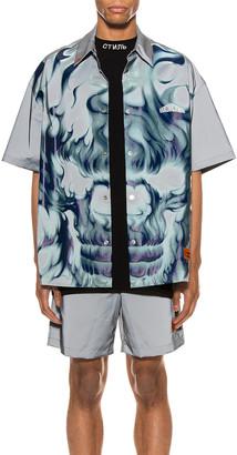 Heron Preston Skull Short Sleeve Shirt in Ice Grey & Multi | FWRD