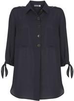 Mint Velvet Navy Button Tie Sleeve Shirt