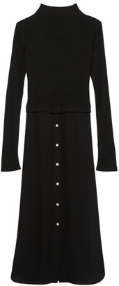 Theory Long-Sleeve Combo Sweater Dress