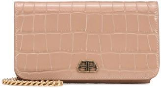 Balenciaga BB croc-effect leather clutch