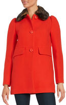 Kate Spade Faux Fur-Trimmed Button-Front Coat