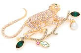 Erdem Monkey Crystal-embellished Brooch - Womens - Green Multi