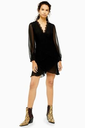 Topshop Womens Black Pleated Ruffle Mini Dress - Black