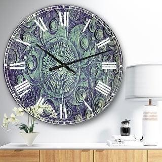Design Art Designart 'Circle Blue Flowers' Digital Art Large Wall CLock