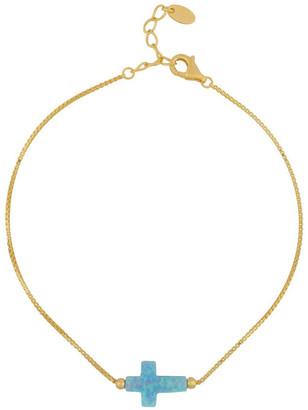 Mocha Sterling Silver Mini Cross Gold Fine Bracelet - Light Blue Lt
