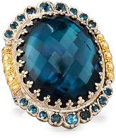 Konstantino Thalassa Oval Blue Topaz Cocktail Ring, Size 7