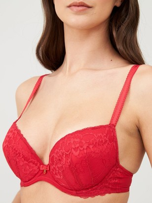Ann Summers Sexy Lace Plunge Bra - Red
