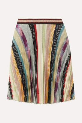 Missoni Metallic Striped Crochet-knit Mini Skirt - Beige