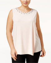 Calvin Klein Plus Size Draped Embellished Shell