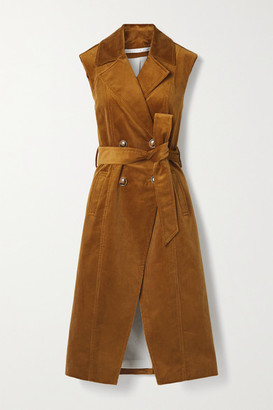 Veronica Beard Fayette Belted Double-breasted Cotton-blend Corduroy Vest - Camel