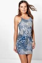 Boohoo Lottie Printed Strappy Bodycon Dress