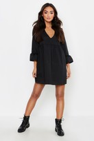 boohoo Petite V Neck Smock Dress