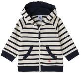 Petit Bateau Baby boys heavy jersey striped, zipped sweatshirt