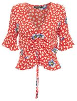 Topshop Red floral ruched front top