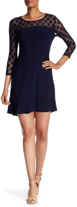 Nina Leonard Polka Dot Illusion 3/4 Sleeve Swing Dress