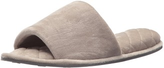 Dearfoams Indoor/Outdoor Womens Velour Slide Slipper - Comfortable Machine Washable Cushioned Slippers with Open-Toed Design