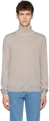 Maison Margiela White and Brown Wool Striped Turtleneck