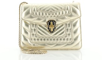 Bvlgari Serpenti Forever Square Shoulder Bag Quilted Leather Small