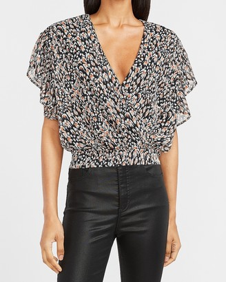 Express Printed Wrap Front Ruffle Sleeve Top