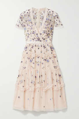 Needle & Thread Prairie Flora Ruffled Embellished Embroidered Tulle Dress - Pastel pink