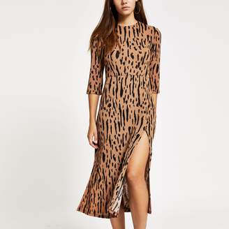 River Island Womens Petite Brown print thigh split midi dress