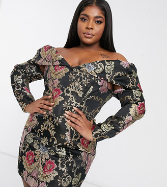 ASOS DESIGN Curve off-shoulder pleated puff sleeve A-line mini dress in floral jacquard