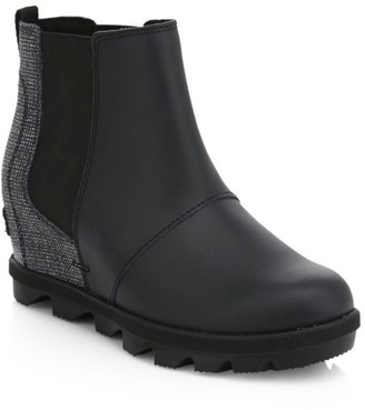 Sorel Girl's Waterproof Coated Leather Platform Wedge Chelsea Boots