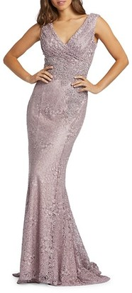 Mac Duggal Embroidered Lace Sheath Gown