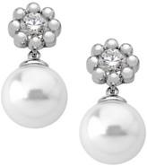 Majorica Exquisite Crystal Flower Faux-Pearl Drop Earrings