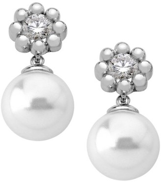Majorica Exquisite Crystal Flower Faux-Pearl Drop Earrings