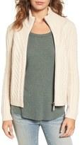 Hinge Women's Cable Knit Zip Cardigan
