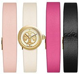 Tory Burch Reva Watch, 4-Strap Set, Multi Leather/Gold-Tone, 20.5mm