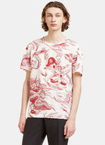 Gucci Men's Donald Duck Storm Print T-shirt In White And Red