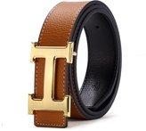 Dabaodan H Belts for Men Business Casual Leather Belt 1.5inch Wide