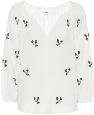Velvet Selma embroidered cotton top