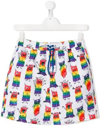 Stella McCartney TEEN monster print swim shorts