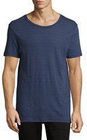ATM Anthony Thomas Melillo Jacquard Stripe Crewneck T-Shirt, Navy