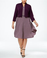 Jessica Howard Plus Size Belted Fit & Flare Dress and Jacket