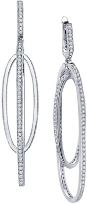 Lafonn Platinum Plated Sterling Silver Simulated Diamond Micro Pave Long Geometric Chandelier Earrings