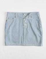 Dickies Stripe Exposed Button Girls Mini Skirt