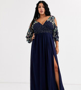 Virgos Lounge Plus maxi dress with embellished cold shoulder sleeve in navy