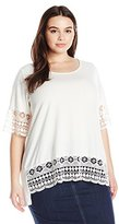 NY Collection Women's Plus Size Elbow Sleeve Scoop Neck Tunic Top with Crochet Trim AT Sleeve and Hem