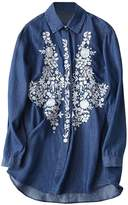 Futurino Women's Floral Embroidered Button Down Long Sleeve Denim Shirt Top 6